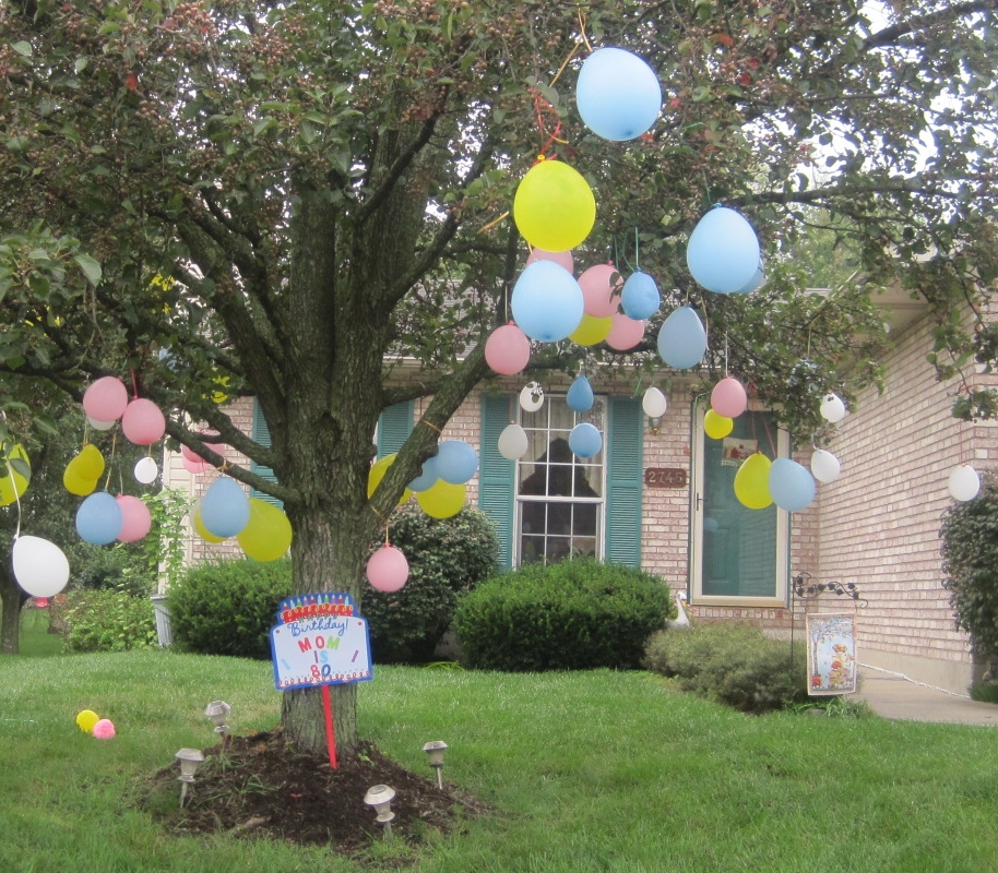 When I Got Up Early Looked Outside To See The Tree In My Front Yard Holding 80 Balloons Two Daughters Had Gotten Together At 11 PM Last Night After