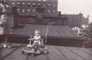 Aunt Mabel and cousin Carol on the roof.  Central Parkway is in right hand background.