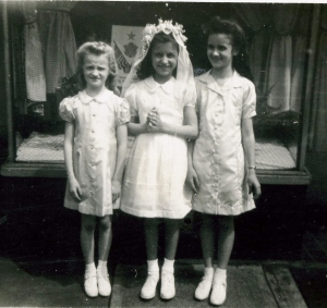 Sister Shirley, cousin Dixie, Lillian in front of Scotti's Restaurant on East Court St.