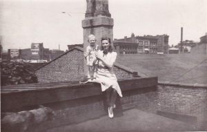 Aunt Mabel and cousin Buddy.  Vine Street going into Over-the-Rhine in the distance