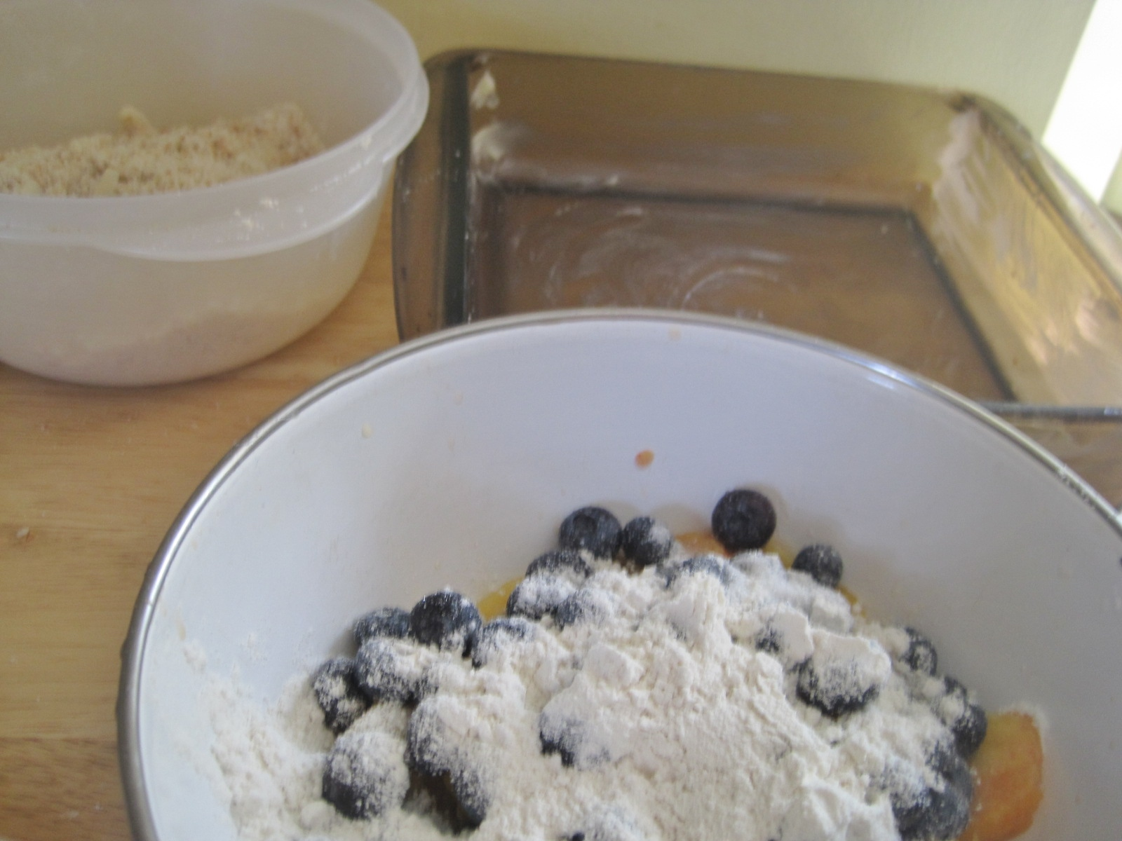 Pour fruit mixture into buttered baking dish. Cover with topping.