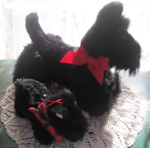 Small Scottie with Mary Engelbreit tag (bought at the Mary Engelbreit store in St. Louis ca 1980s), large Scottie (a birthday gift ca 1990)
