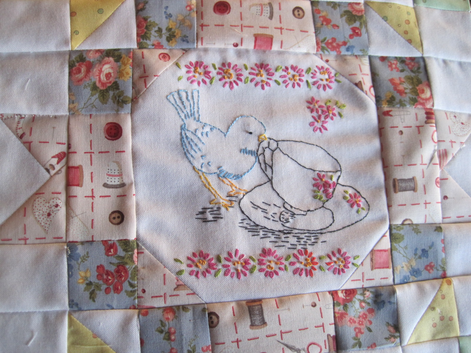 Vintage Winter Christmas Scenes Quilt Blocks Embroidered NICE #2 SET