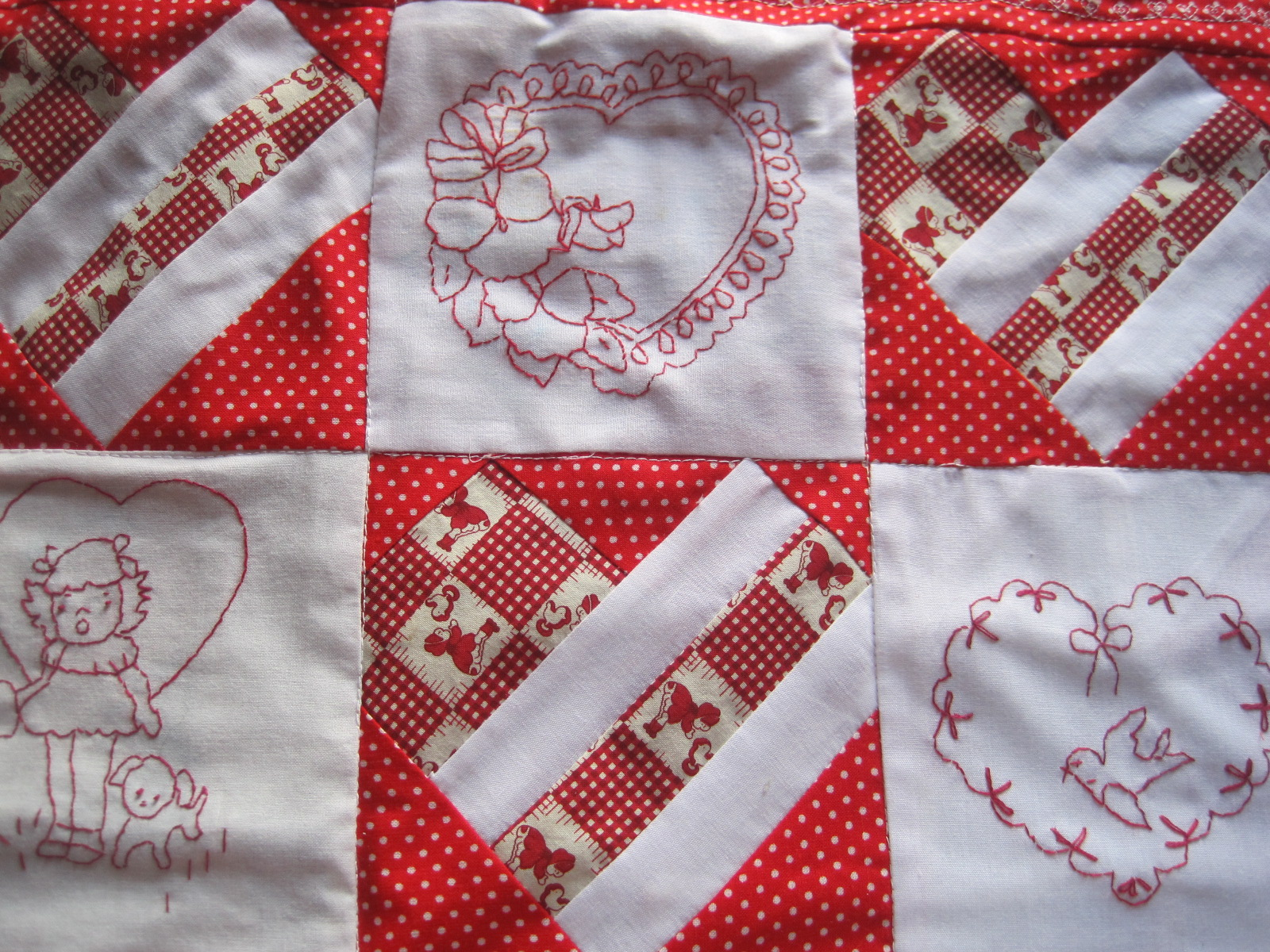Curly Valentine Hearts EMBROIDERED  10 Black QUILT BLOCKS Beautiful Set